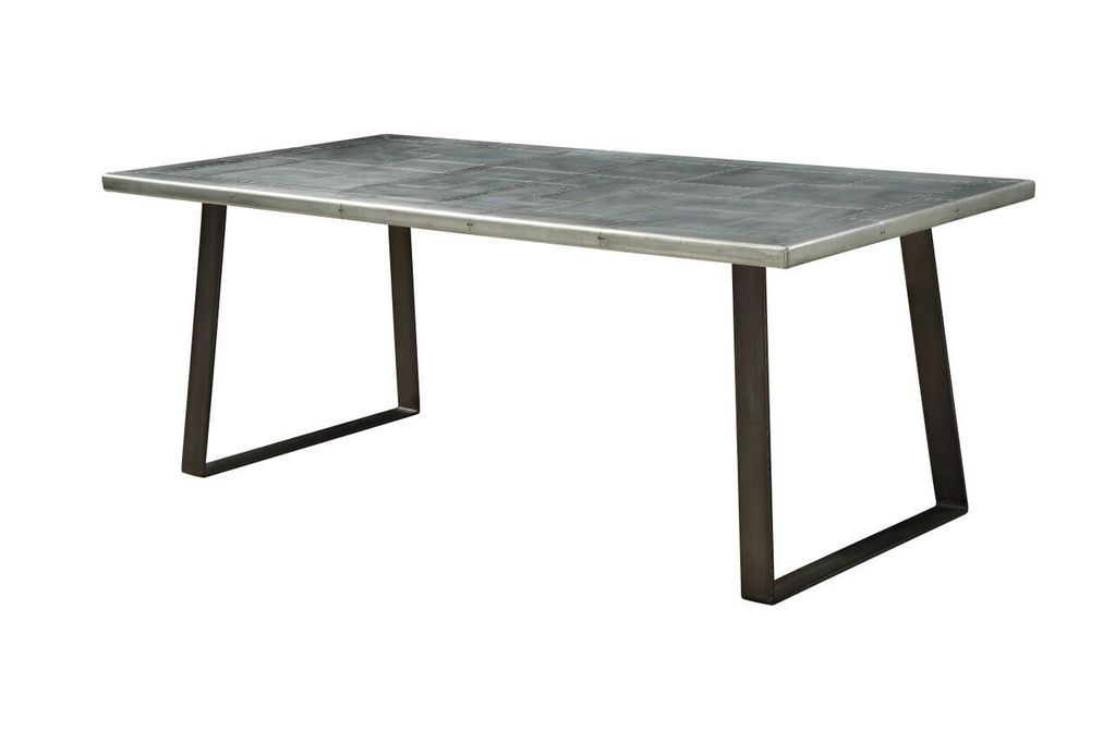 Acme 70105 Kaylia White And Black Metal Finish Dining Table