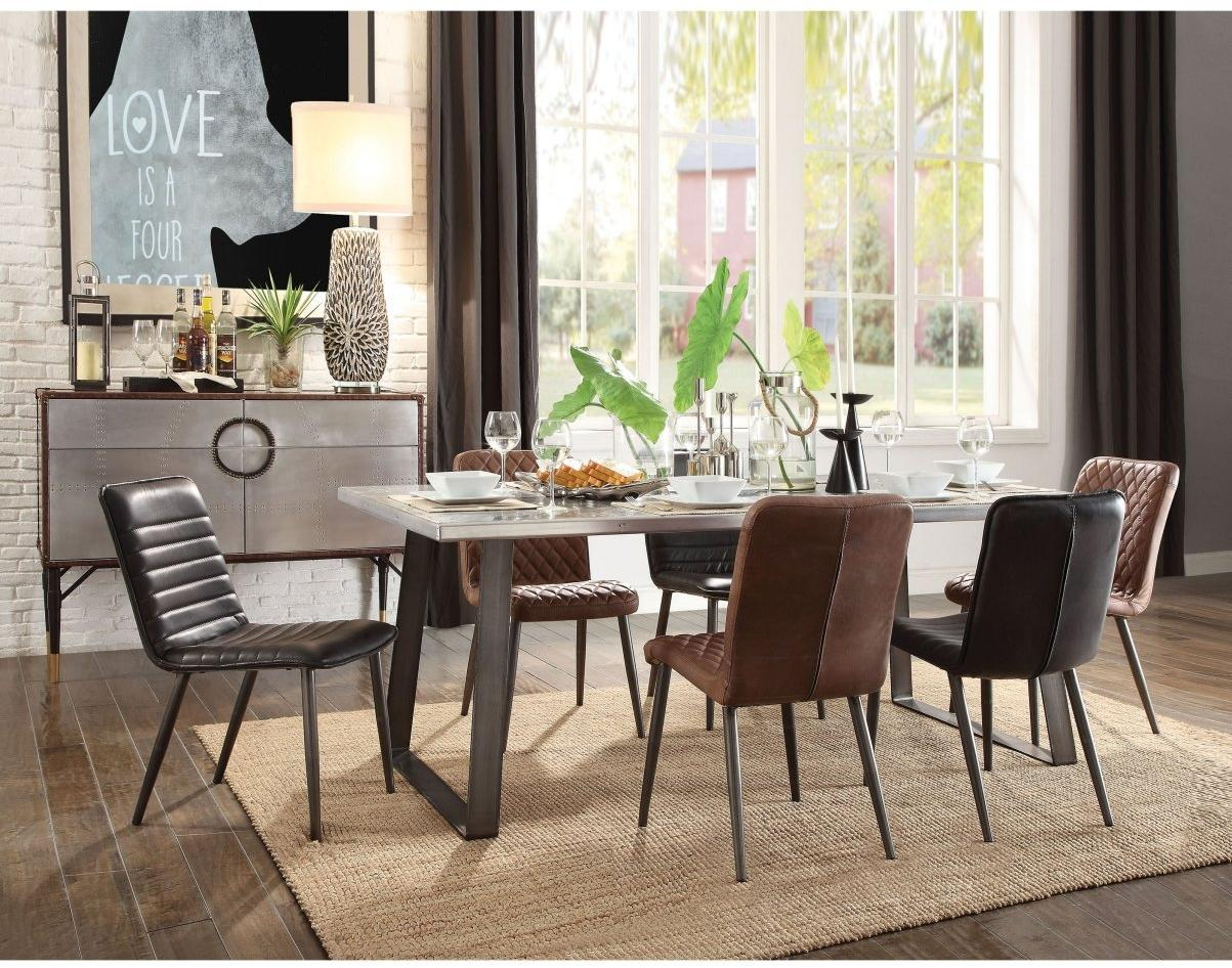 Acme 70105 Kaylia White And Black Metal Finish 7 Piece Dining Table Set