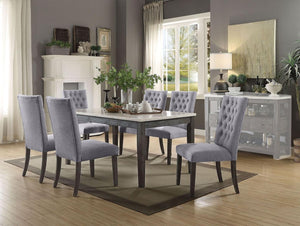 Acme 70165 Merel Grey Wood And White Marble Finish 7 Piece Dining Table Set