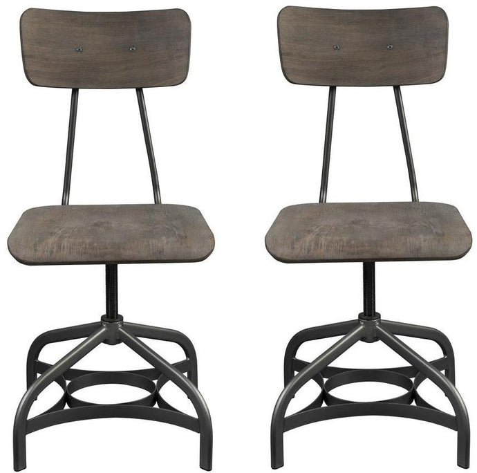 Acme Jonquil Gray And Oak Wood Metal Finish 2 Piece Dining Chair