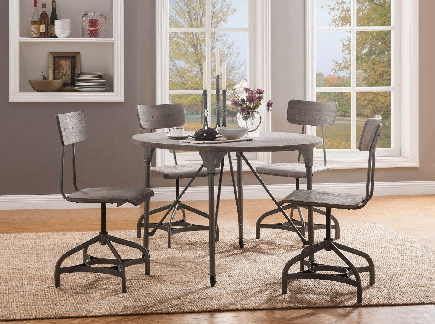 Acme 70285 Jonquil Gray And Oak Wood Metal Finish 5 Piece Dining Table Set