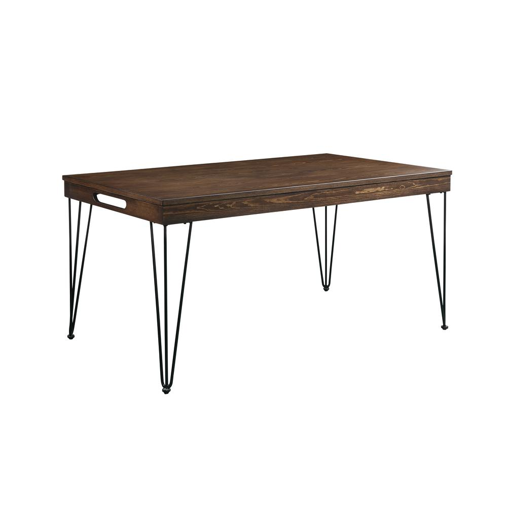 Acme 70735 Garron Oak Wood And Metal Finish Dining Table