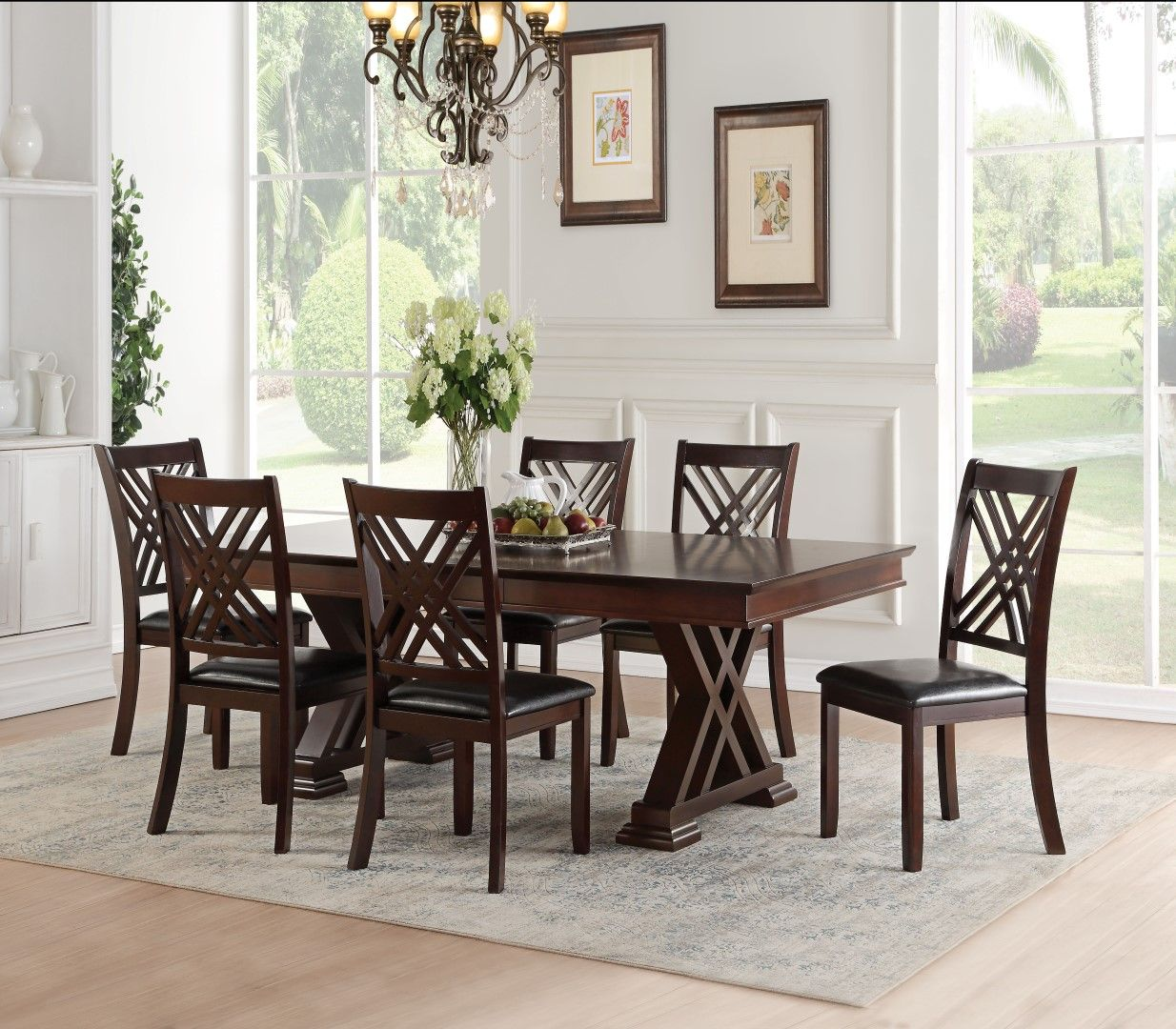 Acme 71855 Katrien Espresso Wood Finish 7 Piece Dining Table Set