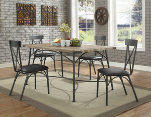 Acme 72080 Itzel Oak Wood Finish 5 Piece Dining Table Set