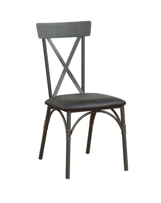 Acme 72082 Itzel Oak Wood And Metal Finish 2 Piece Dining Chair
