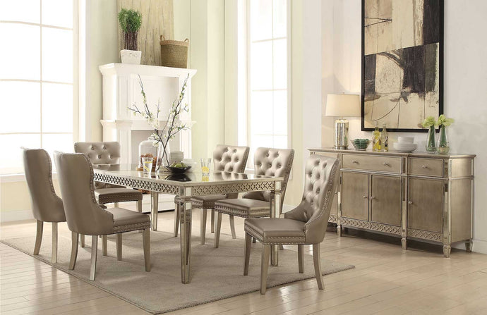 Acme 72155 Kacela Beige Wood Mirrored Finish 7 Piece Dining Table Set