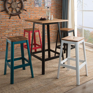 Acme 72330 Jacotte Black And Blue Metal Finish 5 Piece Bar Table Set