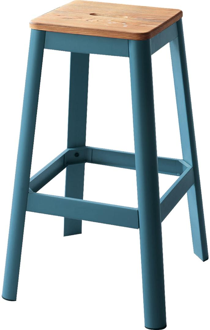 Acme Jacotte Blue Metal And Wood Finish 2 Piece Bar Stool