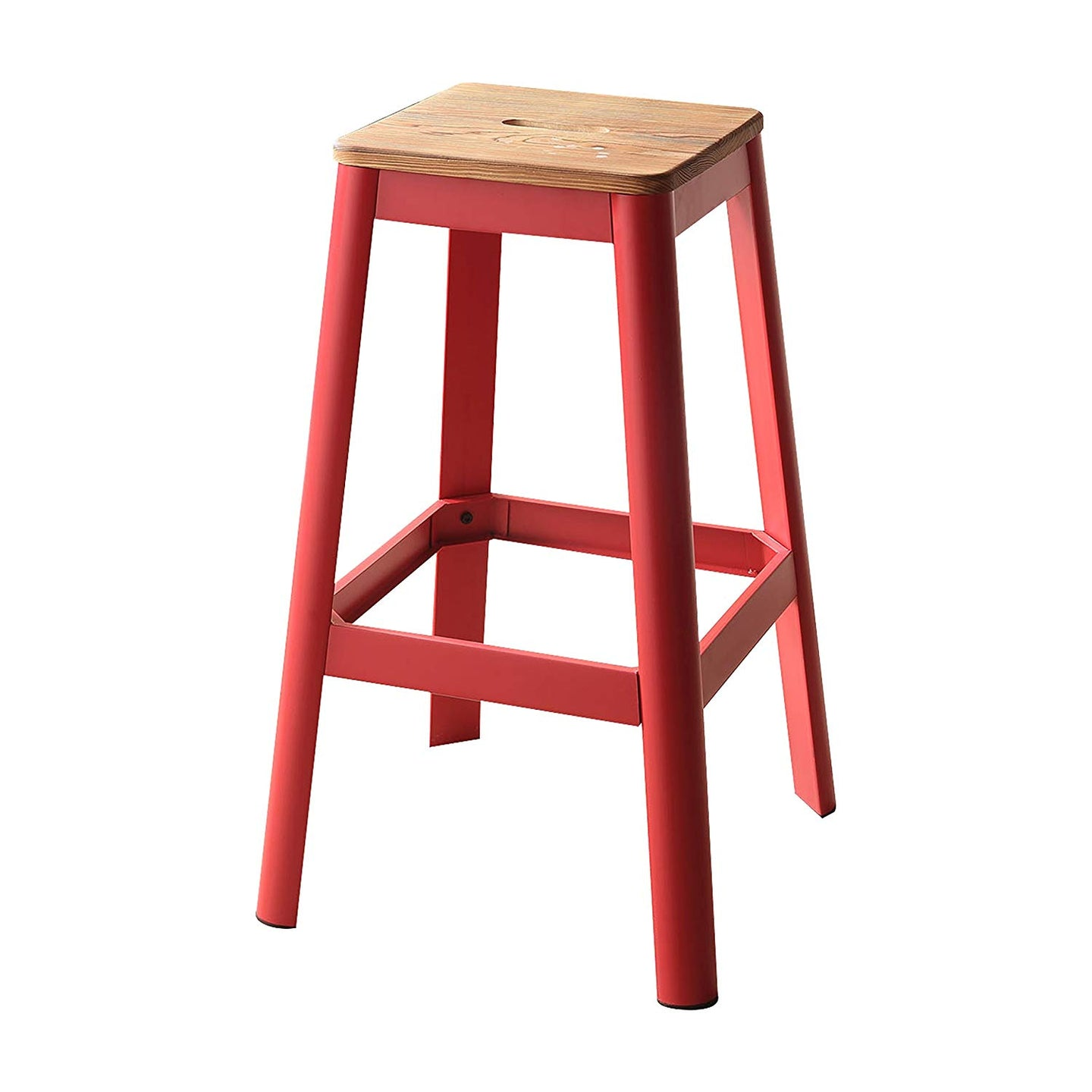 Acme Jacotte Red Wood And Metal Finish 2 Piece Bar Stool