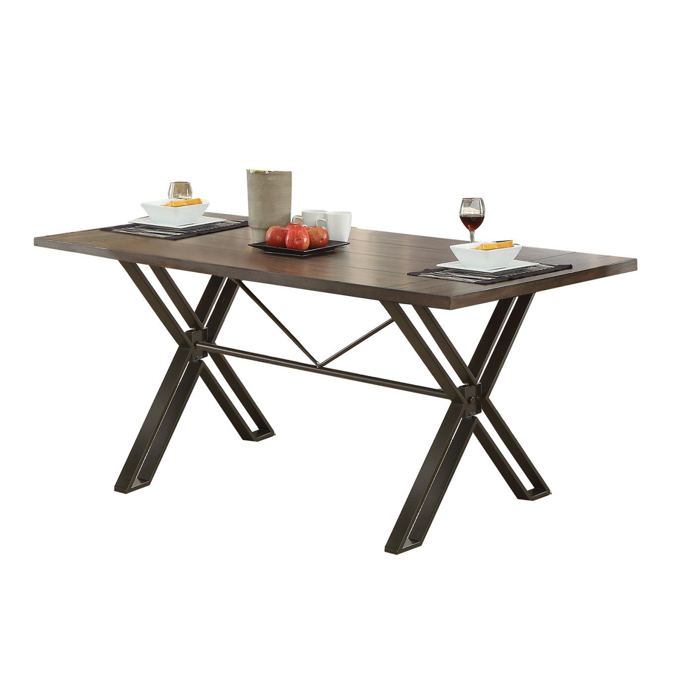 Acme 72345 Jodoc Walnut Wood And Metal Finish Dining Table