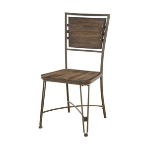 Acme Jodoc Walnut Wood And Metal Finish 2 Piece Dining Chair