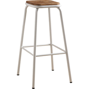 Acme Scarus Natural And White Wood Finish 2 Piece Bar Stool