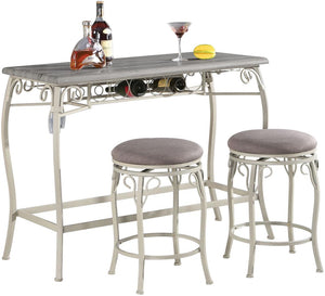 Acme 72520 Irmeda Gray Oak Wood And Fabric Finish 3 Piece Bar Table Set