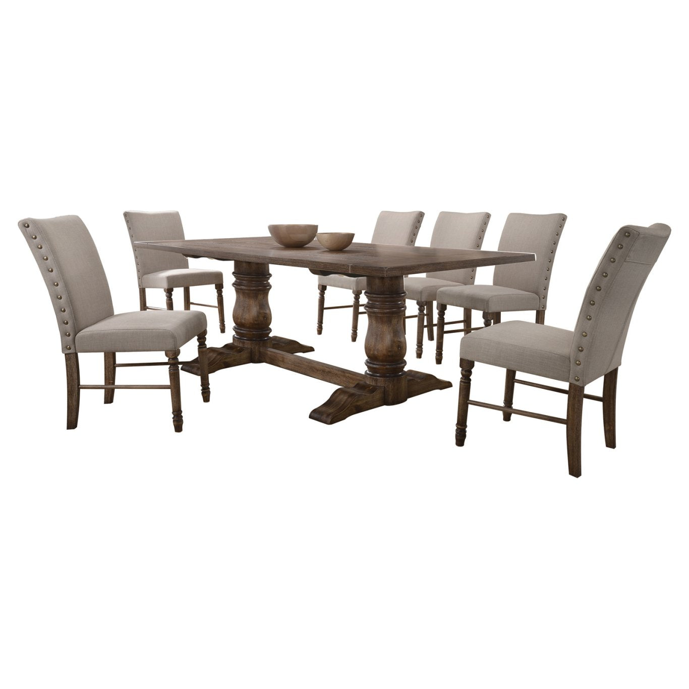 Acme 74655 Leventis Oak And Cream Wood Finish 9 Piece Dining Table Set