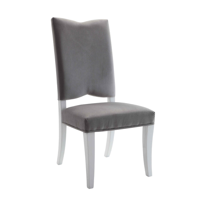Acme 74722 Martinus White And Gray Fabric Finish 2 Piece Dining Chair