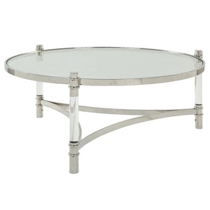Acme 80170 Peony Silver Acrylic Glass Top Finish Coffee Table