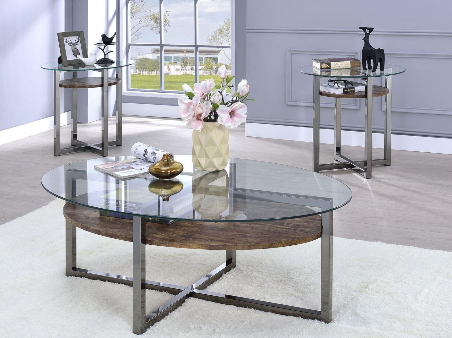 Acme 80560 Jenette Nickel Glass Top Finish 3 Piece Coffee Table Set