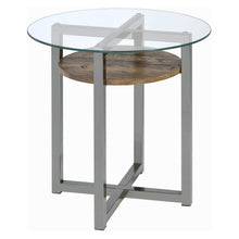 Load image into Gallery viewer, Acme 80562 Jenette Nickel Glass Top Finish End Table