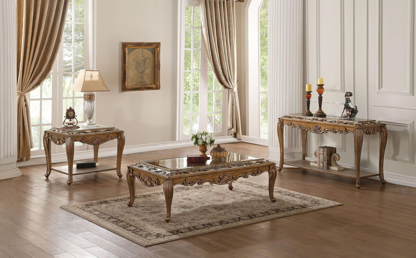 Acme 80690 Orianne Gold Wood Finish Glass Top 3 Piece Coffee Table Set