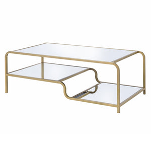Acme 81090 Astrid Gold Metal And Glass Finish Coffee Table