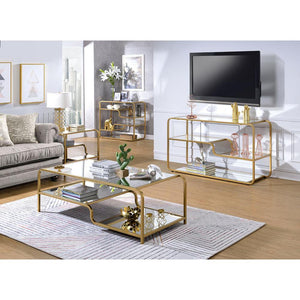 Acme 81090 Astrid Gold Metal And Glass Finish 3 Piece Coffee Table Set