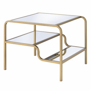 Acme 81092 Astrid Gold Metal And Glass Finish End Table