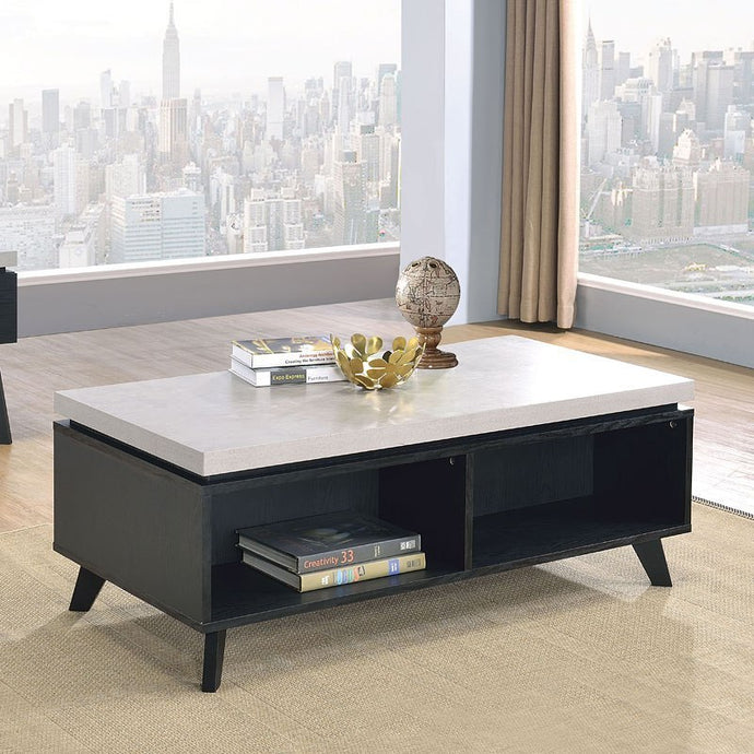 Acme 81095 Magna Black Wood White Marble Top Finish Coffee Table