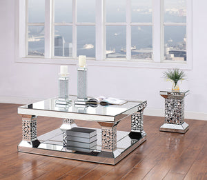 Acme 81425 Kachina Silver Mirrored Finish 3 Piece Coffee Table Set