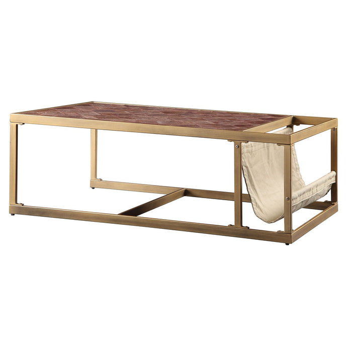 Acme 82310 Genevieve Gold Metal And Marble Top Finish Coffee Table
