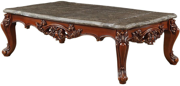 Acme 83065 Eustoma Cherry Wood Marble Top Finish Coffee Table