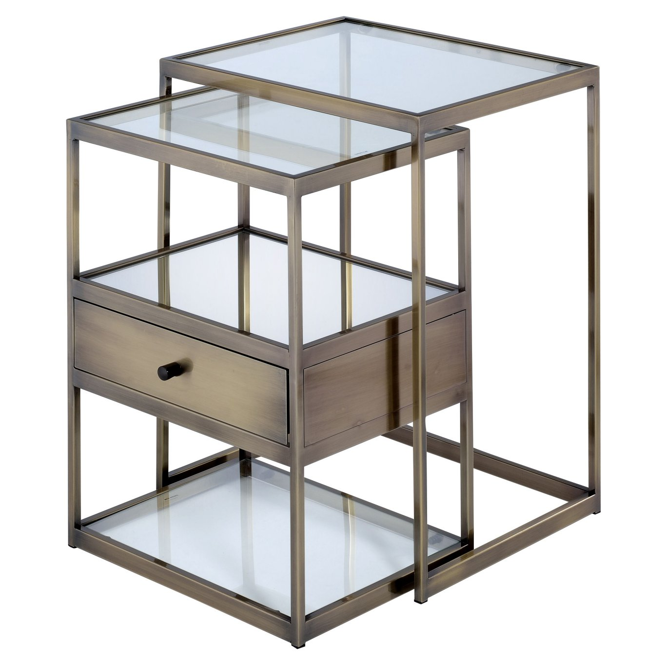 Acme 84470 Enca Brass Glass Metal Finish 2 Piece Nesting End Table