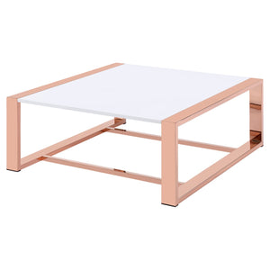 Acme 84480 Proviche Rose Gold Glass Metal Finish Coffee Table