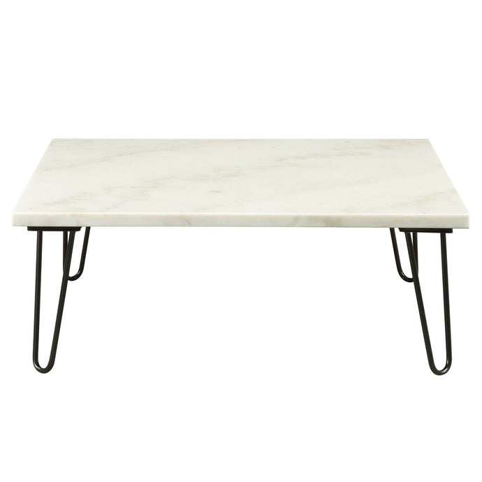Acme 84500 Telestis White Marble Metal Finish Coffee Table