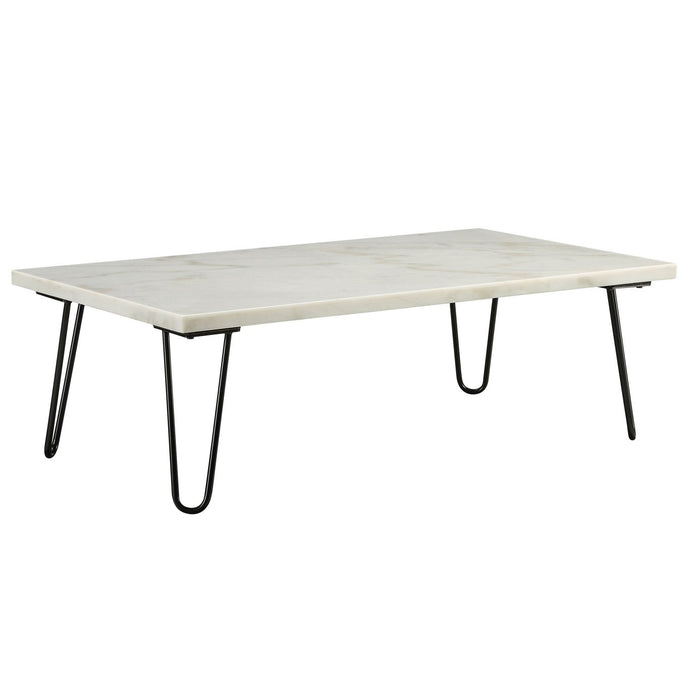 Acme 84510 Telestis White Marble Metal Finish Coffee Table