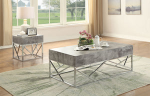 Acme 84575 Burgo Gray Marble Metal Finish 3 Piece Coffee Table Set