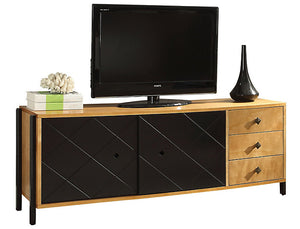 Acme 90175 Honna Natural Black Wood Finish Contemporary TV Stand