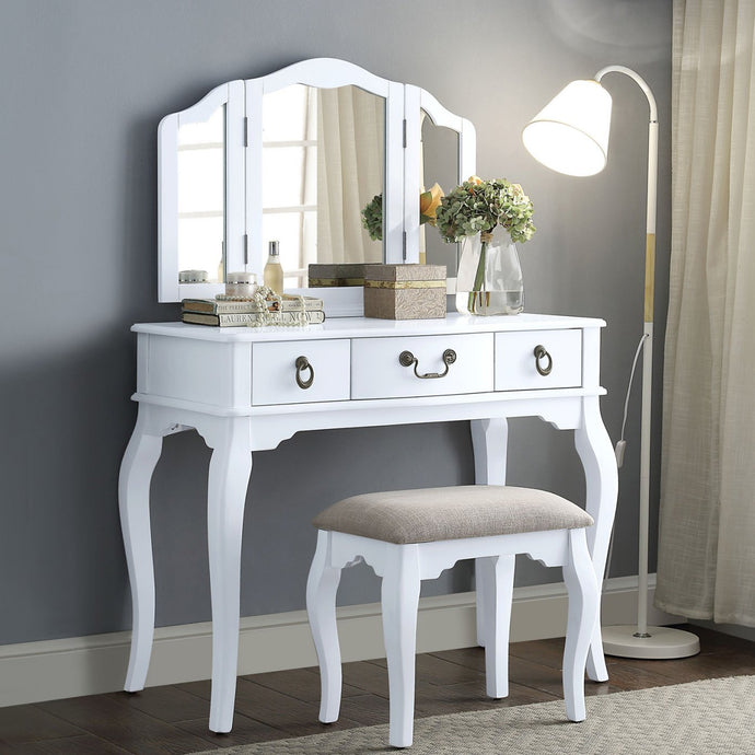 Acme 90352 Abelus White Wood Finish 3 Piece Vanity Desk Set