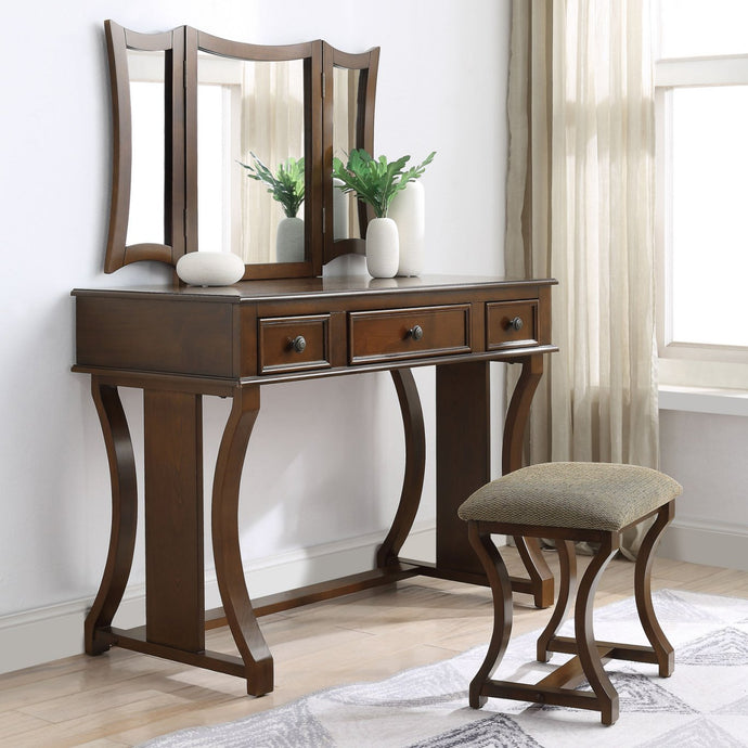 Acme 90355 Popidia Cherry Wood Finish 3 Piece Vanity Desk Set