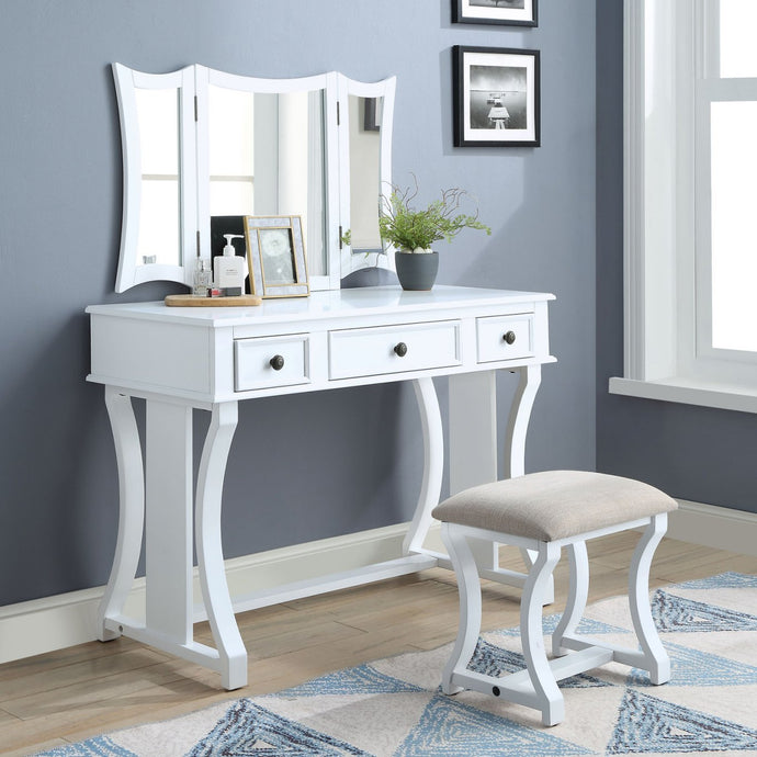 Acme 90357 Popidia White Wood Finish 3 Piece Vanity Desk Set