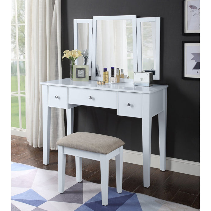 Acme 90362 Severus White Wood Finish 3 Piece Vanity Desk Set