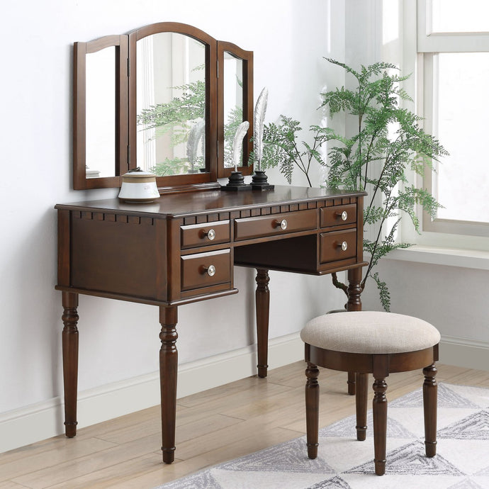 Acme 90364 Corbulo Cherry Wood Finish 3 Piece Vanity Desk Set