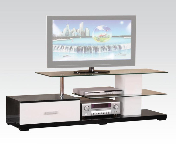 Acme 91140 Ivana White And Black Glass Wood Finish TV Stand