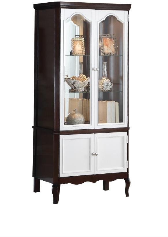 Acme 91234 Mathias Walnut White Wood Finish French Door Cabinet Curio