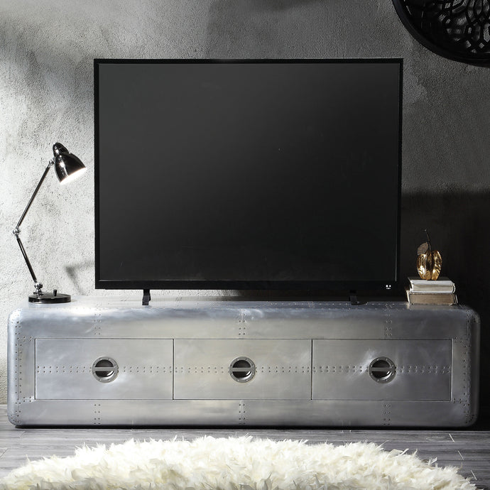 Acme 91562 Brancaster Silver Metal Finish Industrial TV Stand