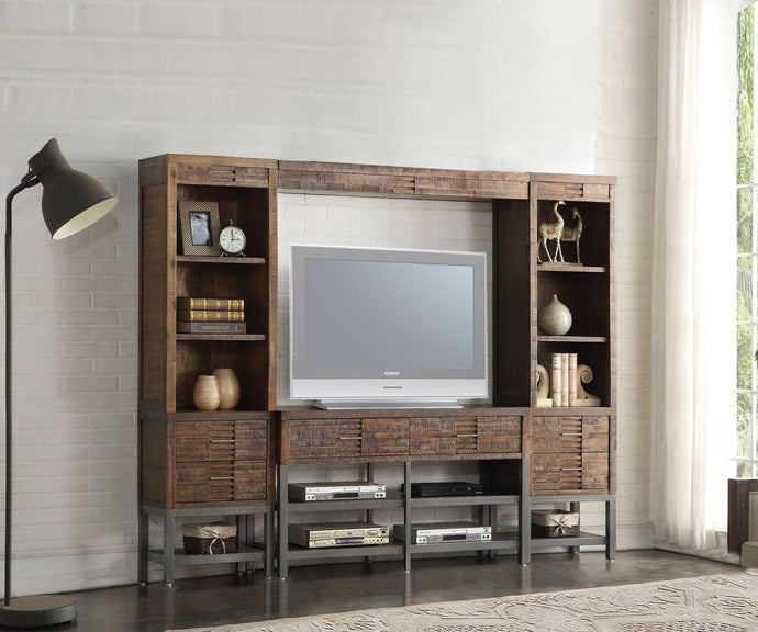 Acme 91620 Andria Oak Wood Metal Finish 2 Piece Entertainment Center