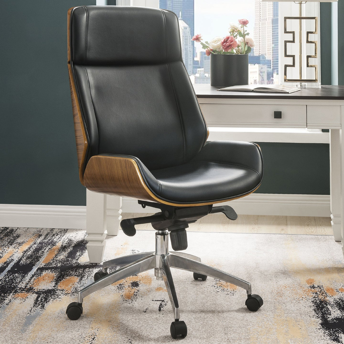 Acme 92295 Conroy Black And Walnut PU Leather Finish Office Chair
