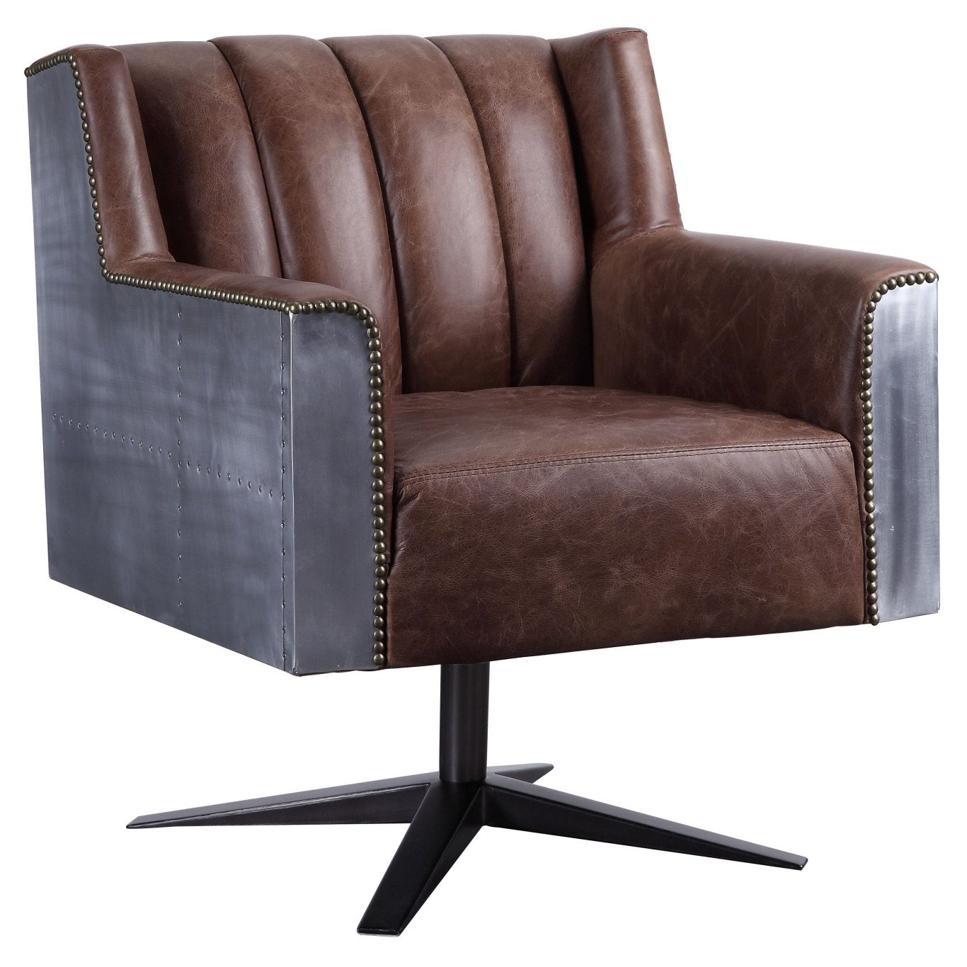 Acme 92553 Brancaster Brown Leather Finish Industrial Office Chair