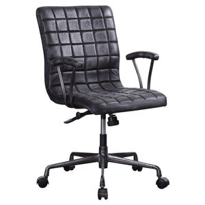 Acme 92557 Barack Black Leather Finish Industrial Office Chair