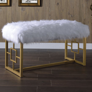 Acme 96451 Bagley II White Gold Wool Metal Finish Bedroom Bench