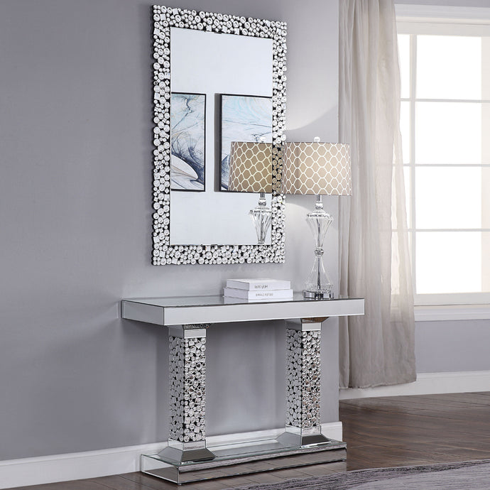 Acme 90446 Kachina Silver Mirrored Finish 2 Piece Console Table Set